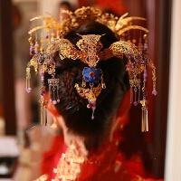 新娘古装头饰中式婚礼金色发饰套装长流苏步摇皇冠款式秀禾服发饰 8#