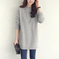 秋冬加厚羊绒衫女圆领中长款套头打底羊绒裙宽松针织毛衣
