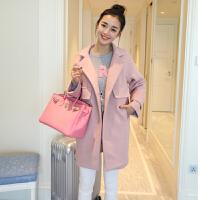 妮子大衣秋冬女韩国学生bf原宿甜美粉色毛呢外套中长款娃娃开衫潮