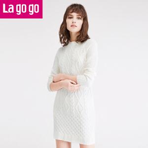 lagogo2016冬季女装秋冬针织连衣裙女针织衫裙子修身长袖上衣