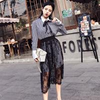 韩版小清新长袖中长款蕾丝拼接连衣裙女春季格子时尚两件套装裙子