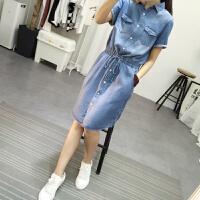夏季新款韩版修身显瘦松紧腰短袖天丝学院风牛仔连衣裙中长款 蓝色