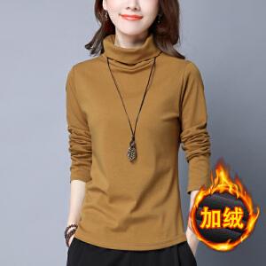 安妮纯加厚纯色棉t恤高领秋冬中长款打底衫女长袖宽松显瘦大码百搭上衣