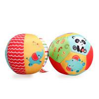 美国费雪动物认知4寸宝宝手抓球婴儿球玩具摇铃球铃铛球 布球婴儿