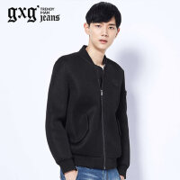 gxg.jeans男装秋季黑色修身棒球服简约潮流休闲夹克外套63921004