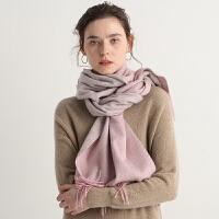 2018年秋冬季羊毛围巾女韩版百搭双面色长款加厚保暖小披肩