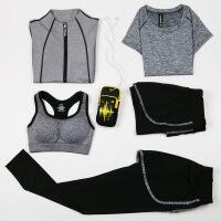 健身房运动套装女夏季新款瑜伽服显瘦速干跑步健身服套装 五件套运 动服