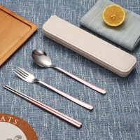 304不锈钢筷子勺子套装盒便携式餐具叉子三件套学生旅行套装