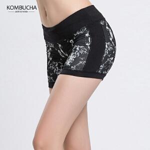 【限时特惠】KOMBUCHA瑜伽短裤2018新款女士迷彩印花速干透气防走光短裤健身跑步运动热裤K0079
