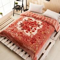 拉舍尔双层加厚毛毯结婚庆大红色毛绒毯冬天盖被毯子陪嫁回礼