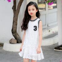 2019 女童夏季连衣裙中大童韩版背心公主裙蕾丝连衣裙 白色