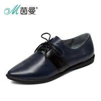 茵曼女鞋秋新款时尚英伦风系带单鞋牛皮尖头休闲鞋4863030007