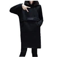 慈姑胖mm冬装加绒加厚卫衣连衣裙加肥加大码女装胖妹妹宽松上衣200斤 黑色