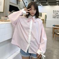 2018新款女装春装韩版chic风竖条纹撞色翻领可拆卸小领结长袖衬衫