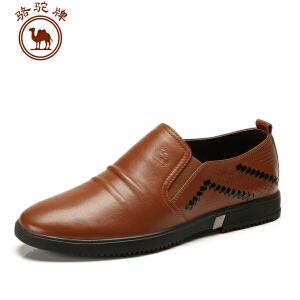 骆驼牌 年春季新款 套脚休闲商务皮鞋流行男鞋子 耐磨舒适