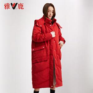 yaloo/雅鹿冬季羽绒服女2019新款中长款时尚过膝韩版红色羽绒外套