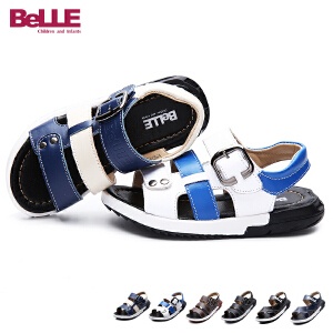 【清仓特惠】百丽Belle童鞋中大童凉鞋夏季新款沙滩鞋儿童凉皮鞋男童露趾凉鞋