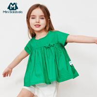 【每满299元减100元】迷你巴拉巴拉女童新款白衬衫宽松娃娃衫纯棉轻薄透气衬衣2019夏季