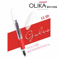 韩国monami/慕娜美钢笔02099EF 红色透明杆OLIKA糖果彩色钢笔学生专用练字书钢笔0.38mm铱金笔EF尖