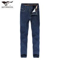 七匹狼牛仔裤时尚中青年男士加绒加厚牛仔长裤休闲男裤
