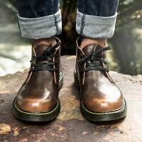 男士马丁靴韩版中帮短靴2018新款秋季靴子男工装复古沙漠靴潮