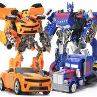 男孩儿童模型变形玩具金刚4警车大黄蜂声光版汽车机器人