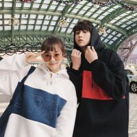 新品韩国情侣装2018春装时尚撞色刺绣撞色接拼连帽套头卫衣外套班