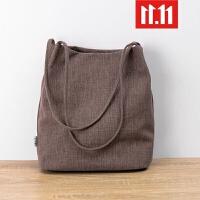 帆布包女单肩水桶包原创女包韩国文艺棉麻布袋新款简约休闲手提包