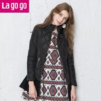 Lagogo修身显瘦中长款棉服纯色黑色高领秋冬女装韩版薄外套中长款