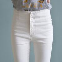 秋冬新款白色加绒牛仔裤女大码高腰小脚裤紧身长裤弹力修身铅笔裤