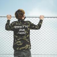 秋季欧美街头军事风长袖衬衫男字母印花迷彩工装夹克潮牌薄款外套