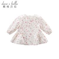 戴维贝拉女童秋装新款T恤 宝宝裙式上衣DB8702-2