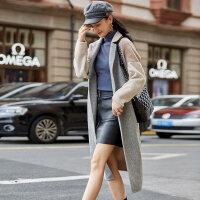 秋冬新品女羊毛澳毛拼接双面羊绒大衣长款毛呢外套 拼色
