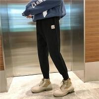 秋冬新款加绒加厚运动裤子男韩版潮流学生束脚休闲裤收口长裤子