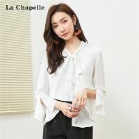 雪纺衬衫女长袖2018春装新款韩范白衬衣心机上衣设计感吊带两件套 1T000357
