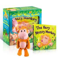 英文原版绘本 送猴子玩偶 The Very Messy Monkey 乱糟糟的猴子! 0-3岁儿童启蒙玩具书, 亲子绘