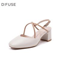 迪芙斯(DFUSE)2019年春季专柜同款羊皮革方头粗跟中后空单鞋女DF91114411
