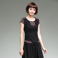 中国风上衣 民族风女装 夏装 棉麻短袖圆领t恤女拼接修身打底衫夏