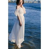 沙滩裙长裙夏季新款一字肩荷叶边雪纺连衣裙海边度假沙滩裙修身显瘦波西米亚长裙 白色