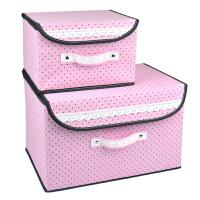 小布点收纳箱两件套日式收纳盒无纺布储物箱大号衣物储物箱收纳盒玩具整理箱收纳盒 粉色
