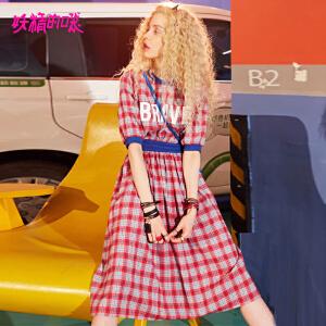 【限时直降:127】妖精的口袋港味裙子新款原宿风chic格子短袖连衣裙女