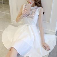 连衣裙夏季新款时尚收腰显瘦韩版女装裙子小清新绣花无袖A字裙 白色