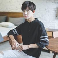 2018春季立领个性韩版宽松半7七分袖短袖T恤男士学生潮流衬衫上