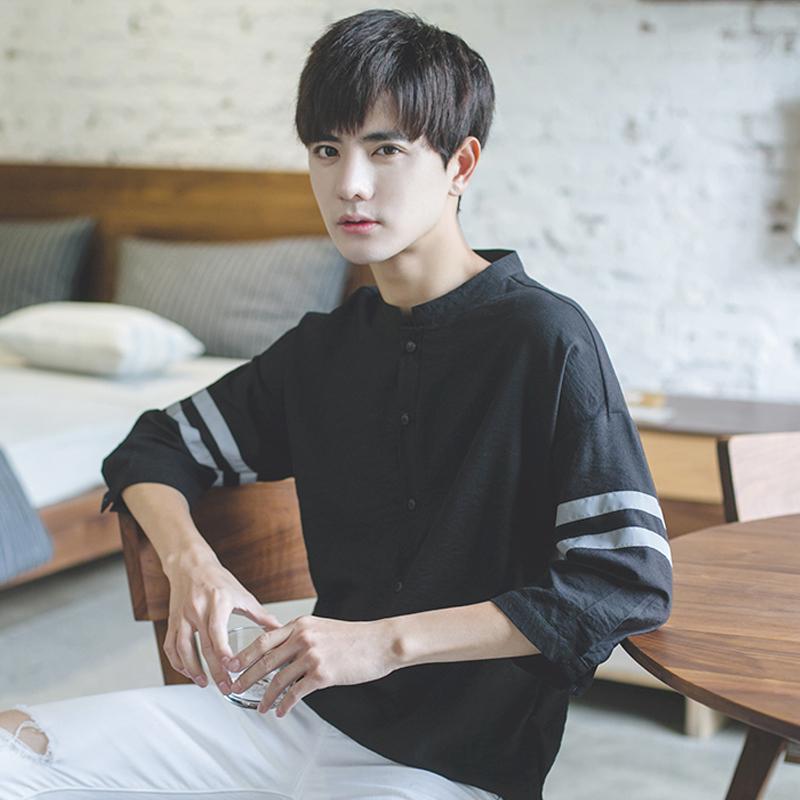 2018春季立领个性韩版宽松半7七分袖短袖T恤男士学生潮流衬衫上 发货周期:一般在付款后2-90天左右发货,具体发货时间请以与客服协商的时间为准