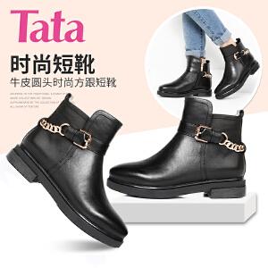 【百丽集团夏季大促,5.28准时开抢】Tata/他她牛皮女皮靴U4103DD6