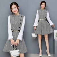 冬季新款女装韩版时尚拼接打底修身长袖假两件格子连衣裙秋冬