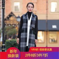 2018流行秋冬马甲双面绒羊毛呢时尚大衣中长款呢子外套女 黑白格