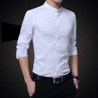 春秋季纯棉立领衬衫男长袖常规透气丝光棉修身款纯色商务圆领衬衣