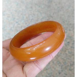 天然金丝玉橙红色手镯AFO1098