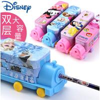 迪士尼公主笔盒小学生多功能女童汽车文具盒大容量铁皮铅笔盒幼儿园儿童1-3年级简约创意可爱铁盒双层
